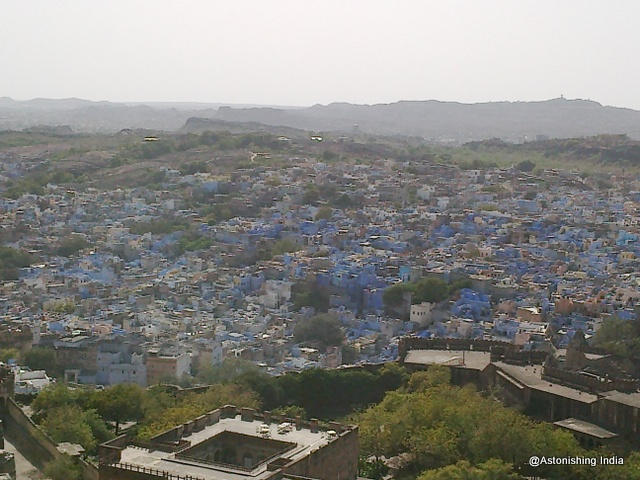 Blue houses seen from fort