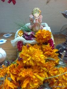 Hand painted idol of Lord Ganesha
