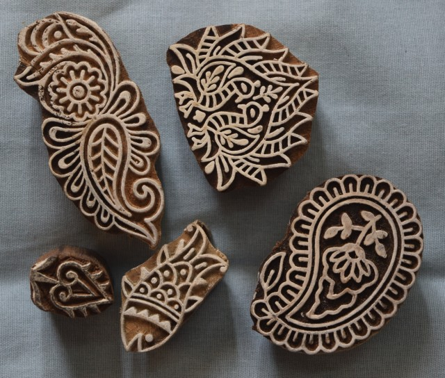 Wood blocks for block-printing on fabric