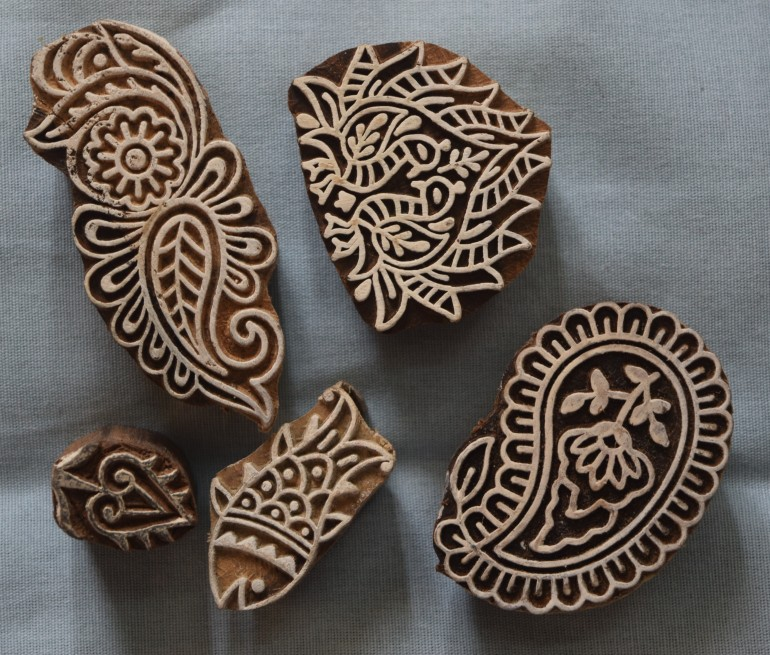Wood blocks for block-printing on fabric