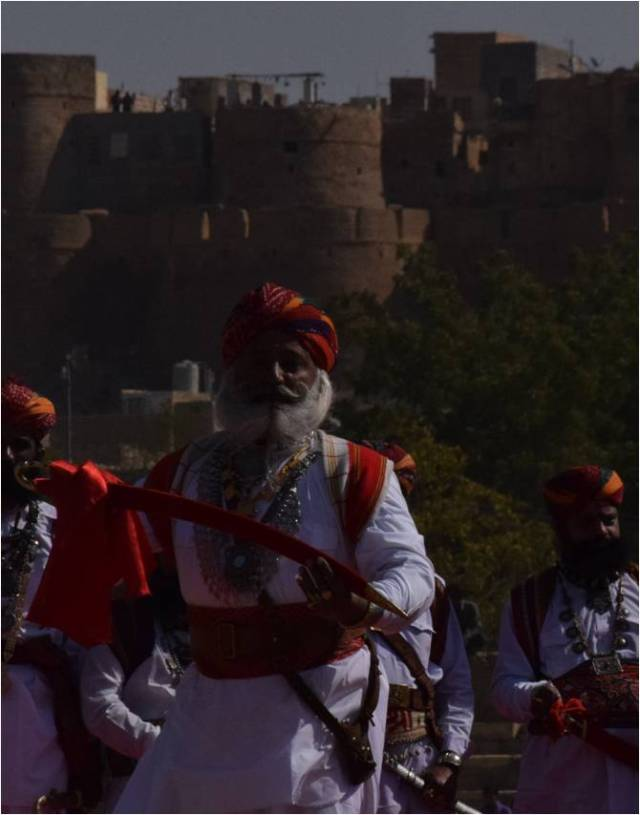 A Rajput warrior at Desert Festival in Jaisalmer