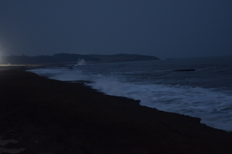 Sea roaring away at late evening