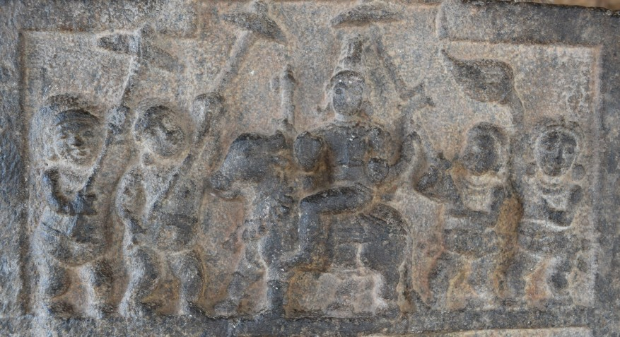 A panel on column showin Shiva in his marriage procession