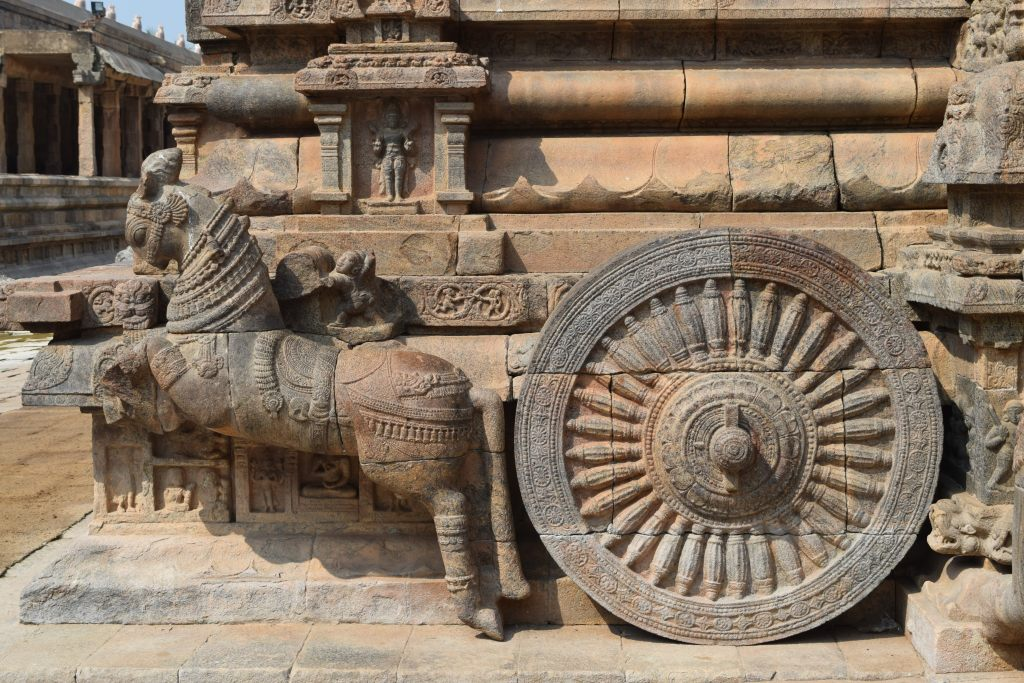Wheels and horse of chariot like mandapam