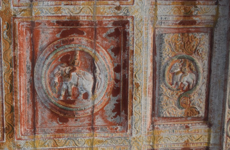 Ceiling showing Indra on white elephant Airawat and Yama on a buffalo
