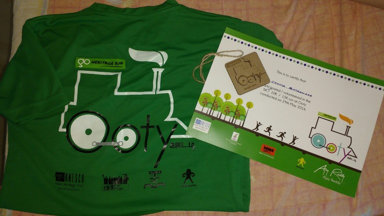 Medal and certificate of run