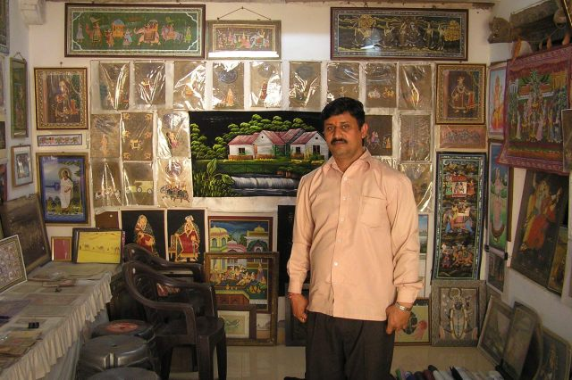 Miniature artist Kanu Swami and his shop