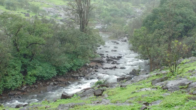 Shallow seasonal river along the Bhimashankar Trek