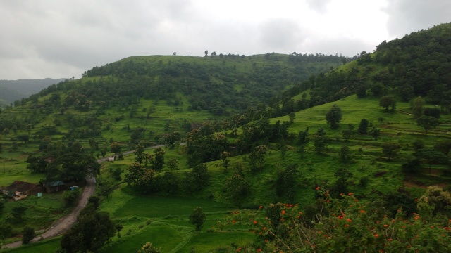Sahyadri hills of Western Ghats draped in greens