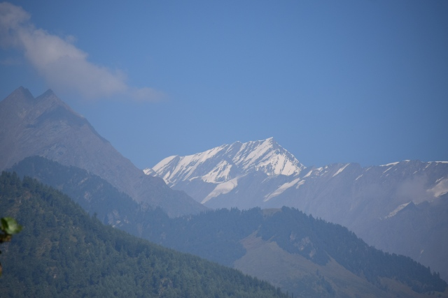Fresh snow on farther hills of Pir panjal Mountain range