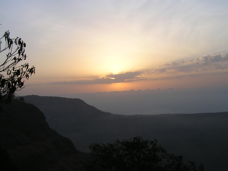 Sun sets in hills of Matheran