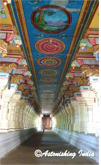 Temple corridors with colorful ceiling held me in awe...