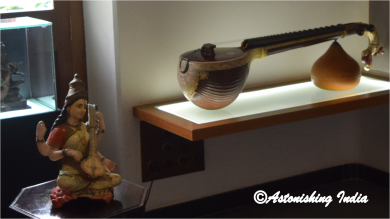 Musical instrument Veena with the goddess of wisdom