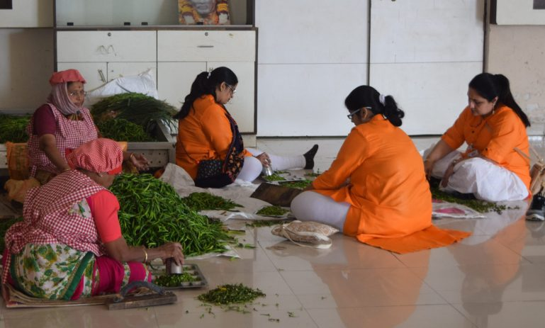 Volunteers in kitchen sorting vegetables