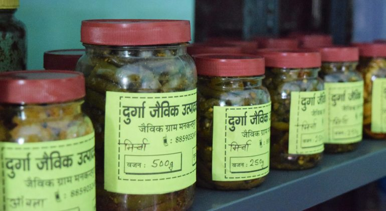 Jams and pickles of organic produce