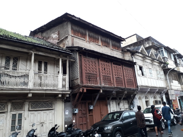 Street lined with vintage Parsi abodes