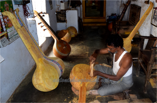 Veena instruments in various stages of making.