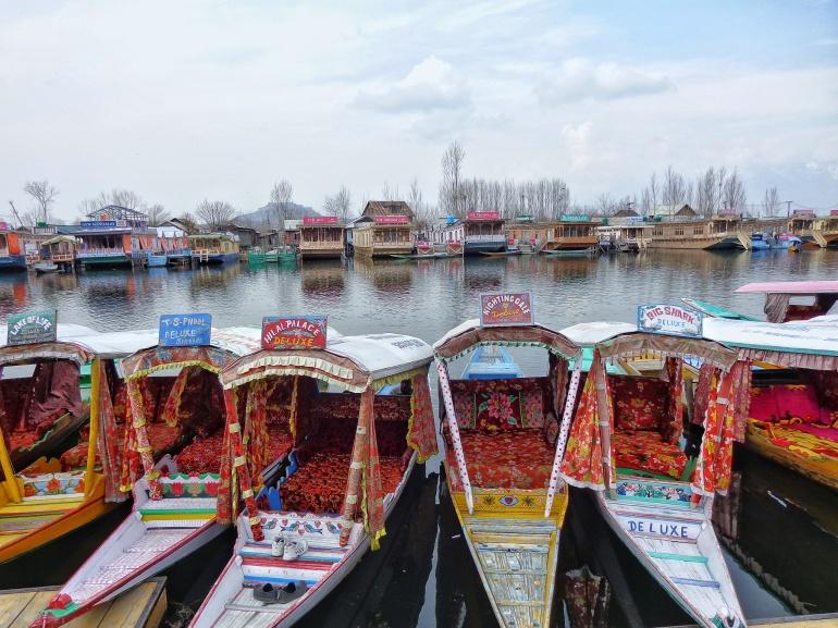 Shikaras and houseboats at Dal lake. Pic by Deepak Dua
