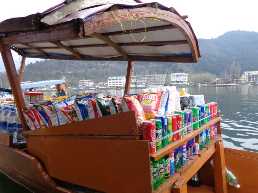 One of the Shikara stocked with snack items