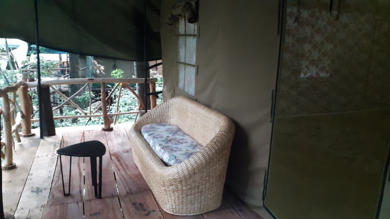 wooden deck outside the tent