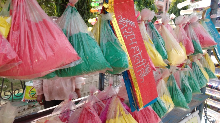 Colors of Holi on handcart